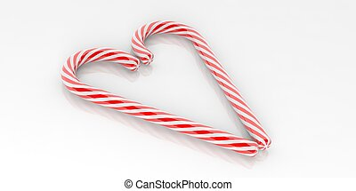 3d rendering candy canes heart on white background