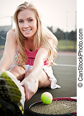 Tennis player - A beautiful caucasian tennis player...