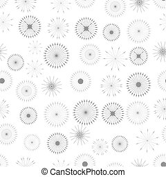 Set of Starbursts Symbols Seamless Pattern on White...