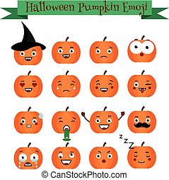 Cute halloween pumpkin emoji set. Emoticons, stickers, design elemets