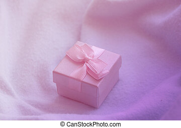 Little present box with bow in pink colors - Little gift box...