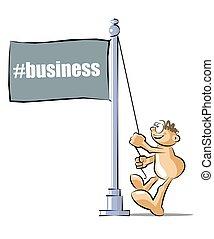 Cartoon raising a flag with the business hashtag