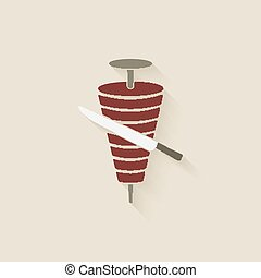 doner kebab with knife. vector illustration - eps 10