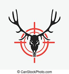 deer skull on red target. hunting club design. vector...