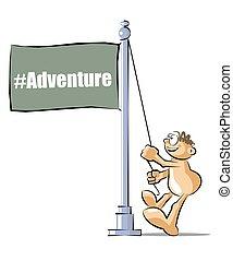 Cartoon raising a flag with the Adventure hashtag