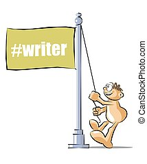 Cartoon raising a flag with the writter hashtag - Funny...