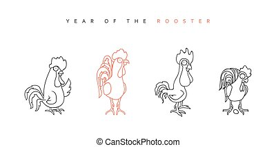 Rooster Chinese New Year Symbol 2017 Funny rooster and hen...