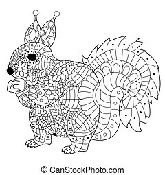 Squirrel Coloring vector for adults - Hand drawn squirrel...