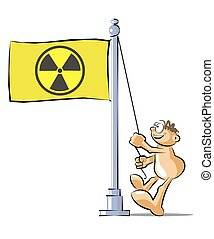 Cartoon raising a flag of radioactive contamination - Funny...