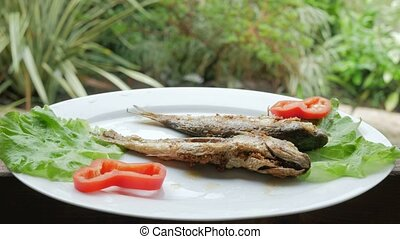 Roasted sea fish with fresh herbs and pepper. Behind the cafe is rain