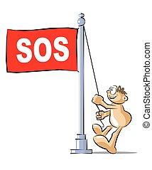 Cartoon raising a flag with the acronym SOS