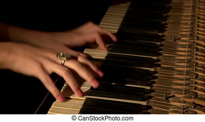 Well-groomed female hands presses piano keys, close-up