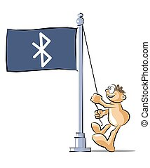 Cartoon raising a flag with the symbol of bluetooth - Funny...