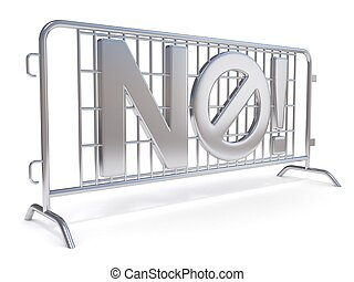 Steel barricades with word NO. Side view. 3D render...