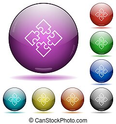 Puzzles glass sphere buttons - Set of color puzzles glass...