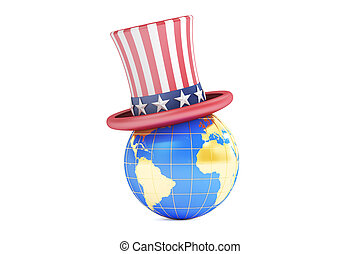 Uncle Sam hat and world, 3D rendering