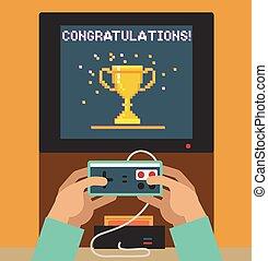 felicitaciones,  monitor, pantalla, juego,  vídeo,  Retro