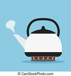 Tea kettle on gas stove - kettle heated on the stove to boil...