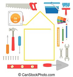 house remodel tools. Home repair service. Flat style toola...