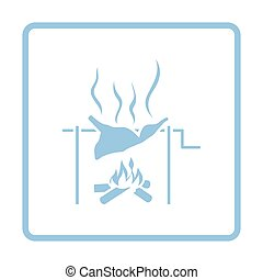 Roasting meat on fire icon. Blue frame design. Vector...