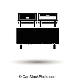 Chafing dish icon. White background with shadow design....