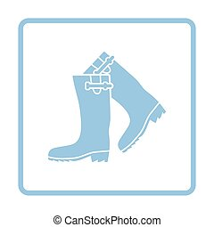 Hunter's rubber boots icon. Blue frame design. Vector...