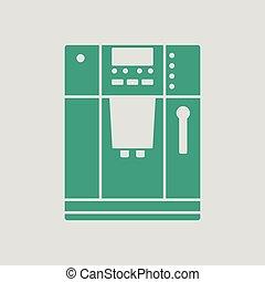 Kitchen coffee machine icon Gray background with green...