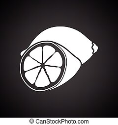 Lemon icon Black background with white Vector illustration...