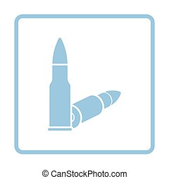 Rifle ammo icon. Blue frame design. Vector illustration.