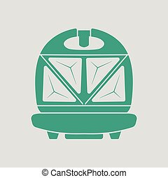 Kitchen sandwich maker icon Gray background with green...