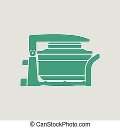 Electric convection oven icon. Gray background with green....