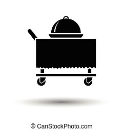 Restaurant cloche on delivering cart icon. White background...