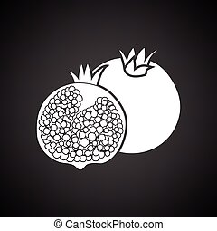 Pomegranate icon Black background with white Vector...