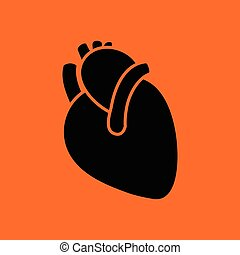 Human heart icon Orange background with black Vector...