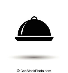 Restaurant cloche icon. White background with shadow design....