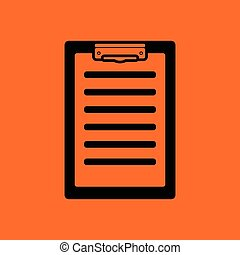Disease history icon Orange background with black Vector...