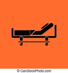 Hospital bed icon. Orange background with black. Vector...