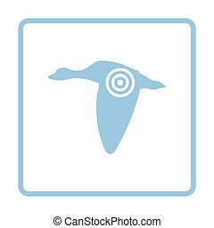 Flying duck silhouette with target icon Blue frame design...