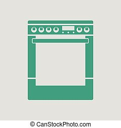 Kitchen main stove unit icon Gray background with green...