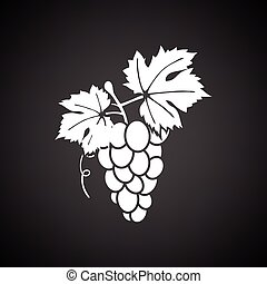 Grape icon. Black background with white. Vector...
