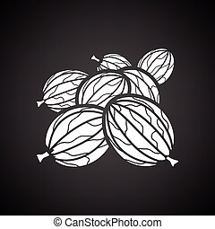 Gooseberry icon. Black background with white. Vector...