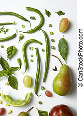 Ingredients for diet - Green vegetables and fruits isolated...