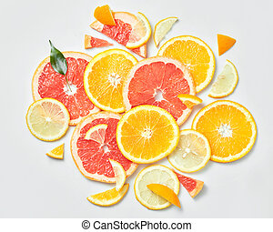 Background of citrus fruit slices, - background with...