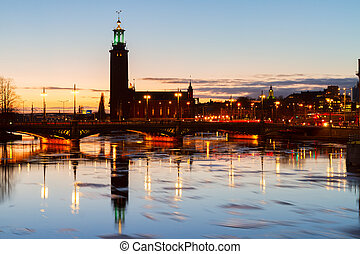 cityhall of Stockholm, Sweden - city hall over sea waters...