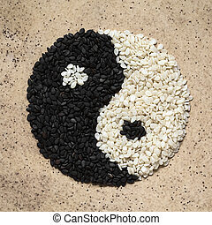 Black and White Sesame Seeds in Yin and Yang Shape - Black...