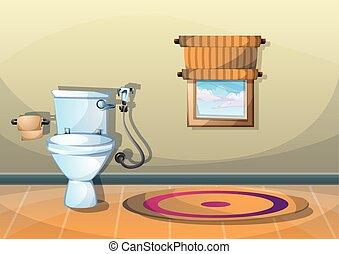 cartoon vector illustration interior bathroom with separated...