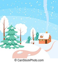 Winter horizontal banner - Powdered with snow house, trees...