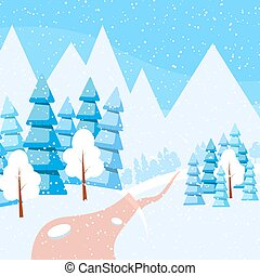 Winter horizontal banner - Powdered with snow trees,...