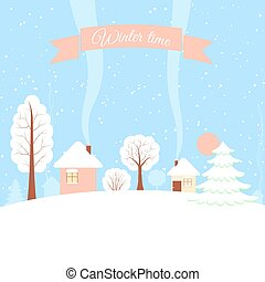 Winter horizontal banner. - Powdered with snow houses, trees...