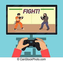 juego, pantalla,  vídeo,  monitor